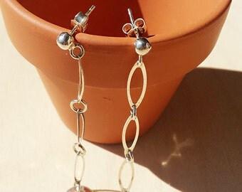 Long earrings, sterling silver earrings, Sterling Earrings Silver Earrings Spiral Earrings Long Earrings Dangle Earrings Minimalist Earrings