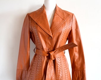 1970s Brown Genuine Leather Jacket // Caramel Belted Coat // Tan Trench Coat