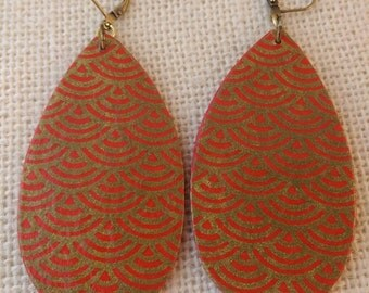 Red & Gold Fan Origami Paper Teardrop Earrings