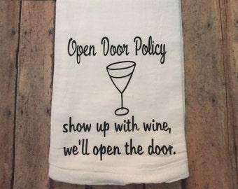 tea towels,  kitchen towel, sayings about wine, housewarming gifts,  kitchen linens, flour sack towel, kitchen decor