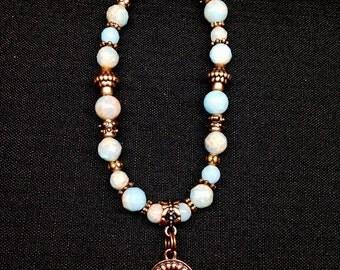 Stretch Bracelet Powder Blue Impression Jasper, Copper Beads , Round Copper & Crystal Dangle, Beautiful Color Combo, Comfortable, Light Easy