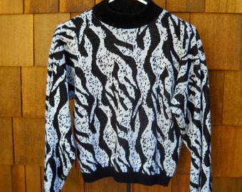 WINTER SALE--Retro Sweater, 1980s, Black and Silver, Cropped, Big Shoulders, Wonderful