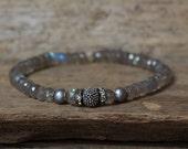 Labradorite Bracelet, Gemstone Bracelet, Silver Bracelet, Hill tribe Bracelet, Stretchy Bracelet, Layering Braceletlet, Stacking Bracelet