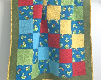 Modern Patchwork Baby Boy Quilt Whimsical Bugs Shades of Blue Green Red Yellow
