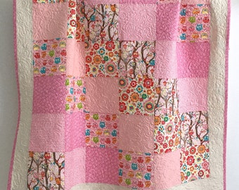 Patchwork Baby Girl Quilt  Tree Party Owls by Kelly Panacci for Riley Blake Pink Cream Green Blue Orange