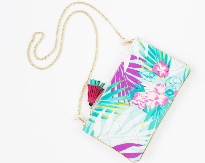 SALE/ FUN 3 / Quilted tropical purse - neon color shoulder bag - cross body purse- pink blue mint - shoulder purse  - Ready to Ship