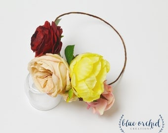 Colorful Flower Crown - Flower Crown with Large Flowers, Silk Flower Crown, Peony Flower Crown, Boho Flower Crown, Wedding Flower Crown
