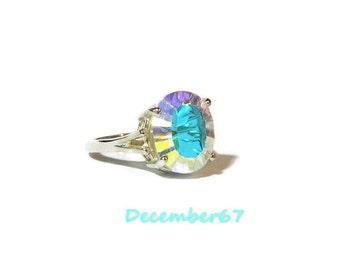 Ring With Big Stone, Opal White Quartz Ring, Rainbow Ring, Big Stone, Sterling Silver