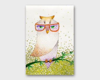 Owls illustration Owl painting watercolor Gifts for birders Owl watercolor art Owl artwork Woodland decor Owl drawing Bird illustration