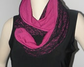 Fushia and black infinity scarf, made of lacework