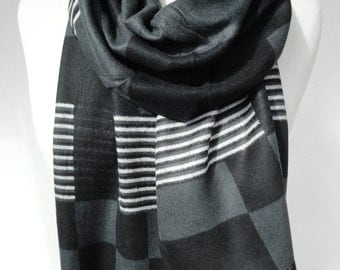 Man Scarf. Black Plaid Scarf. Grey Scarf. Man Birthday Gift. Luxury Scarf. Extremely Soft Scarf. Velvet Smooth Scarf. 12x70in. Ready2Ship