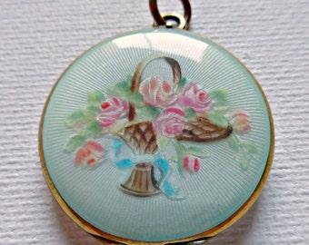 Vintage Gilt Sterling Silver Guilloche Enamel Photo Locket with Handpainted Roses in Bridal Basket Basket