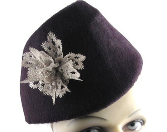 Womens Hat Red Burgundy Fur Felt Long Hair Cloche Handmade Hat Bride Lace Church Derby Ascot Races Prom Art Deco Custom Made for Each Client