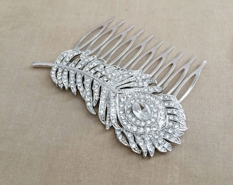 Silver peacock Comb, peacock comb, art deco comb, silver hair comb,  bridal, peacock wedding, peacock feather bridal comb  hair accessories
