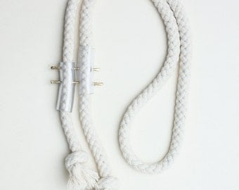 rope necklace B - cotton pvc and brass - minimalist rope necklace