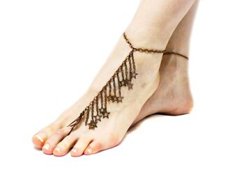 Pair Star Bronze Barefoot sandals Tribal Belly Dance Ethnic wedding Hippie Boho Ankle wrap sandal Toe Thong Foot jewelry Toe Anklets