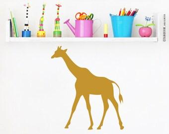 Golden Giraffe, Golden Vinyl Decal. Baby nursery wall art sticker. Gold baby room decor, cute giraffe wall decal, by TANGRAMartworks