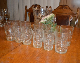 Vintage Starburst/Star of David Glass Pitcher and Drinking Glasses