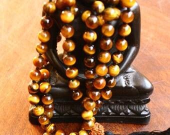 Tiger Eye 108 Mala Beads 8mm Bead Japa Meditation Mala Hand Knotted Gemstone Prayer Beads Yoga Jewelry Tassel Mala Necklace Tassel Necklace
