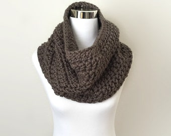 Taupe chunky hand crochet infinity cowl scarf, gift or for you