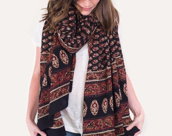 Oversized Red and Black, Tribal Scarf, Pareo, Sarong - Hand block printed, Natural Vegetable Dyes, Pareo, Stole, Shawl