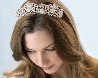 Rhinestone Bridal Crown, Royal Crown, Princess Tiara, Silver Bridal Accessories, Royal Tiara, Princes Wedding Crown, Royal Bride ~TI-3173
