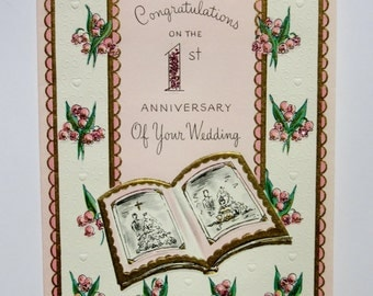 Vintage 1st Wedding Anniversary Card Featuring Pretty Embossed Pink Flowers with Glitter Embellishments, Congratulations to a Special Couple