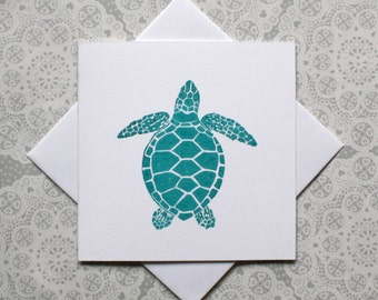 Turtle greetings card | Turquoise |Animal cards | Birthday cards | Thank you cards | Lino print | Handmade |