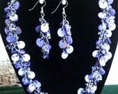 Handmade Beaded Jewelry - Bead Necklace Jewelry - Blue Beaded Necklace Handmade - Blue Chain maille Necklace - Shaggy Loop Shell Necklace