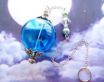 Aqua Witch Ball, Spirit Catcher, Protection, Catch Spirits, Rid Bad Entities, Sun Catcher, Blue Ornament, Glass Ball, Wiccan, Catch a Ghost