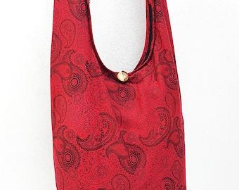 Women bag Handbags Cotton bag Hippie bag Hobo bag Boho bag Shoulder bag Sling bag Messenger Tote bag Crossbody bag Purse Paisley Red