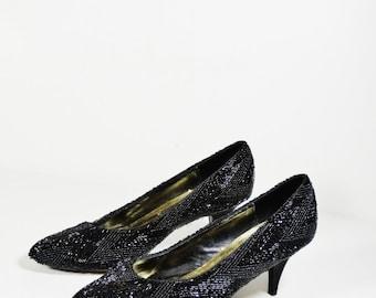 Vintage Beaded Black Pumps - J Renee - Size 6.5 M - Beaded Heels - 1980s Pumps - Elegant Heels