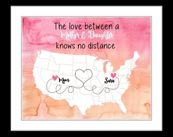 Personalized mothers day gift, mother and daughter long distance print, gift for mom, mother's day gift for mom from kids children  love