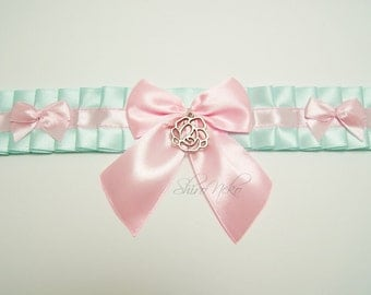 Rose Bow lolita pastel goth choker