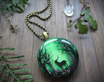 Stag in Enchanted Forest Pendant ~~ stag necklace, deer necklace, green pendant, nature jewellery, wearable art, enchanted pendant