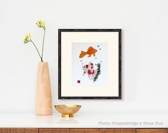 Goldfish Wall Decor, Goldfish Art, Modern Japanese Art Fish, Fish Art, Zen Art, Minimalist