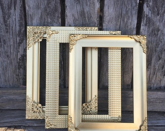 Set of 3 Gold  Frames, Mismatch Set, Ornate Gold Frames, 5x7, 4x6, Wedding Frames, Gold Decor (Los Angeles)
