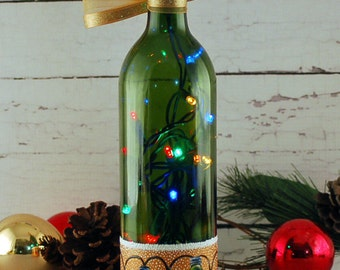 Christmas lights, hand painted wine bottle lamp