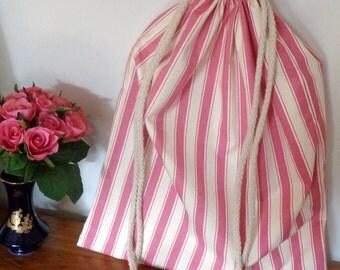 Pink and White Stripe Book Bag / Toy Bag / Drawstring Bag
