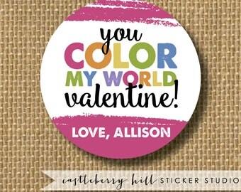 Crayon valentines, cute valentines, colorful valentines, coloring valentines, art valentines custom valentine stickers, valentine gift tag