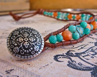 Orange and Teal Beaded Wave Bracelet, Beaded Leather Cuff Bracelet, Antiqued Silver Button, Gift for Her