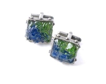 Set of Genuine Rhode Island Cobalt Blue and Soda Bottle Green Bonfire Sea Glass Druzy Style with Resin in Antique Silver Men's Cuff Links