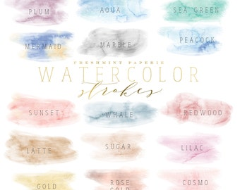 watercolor brush strokes clipart - watercolor clipart - paint clipart - ink strokes clipart - clipart - freshmint paperie