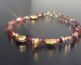 Multi Coloured Spinel & 22k Gold Vermeil Bracelet