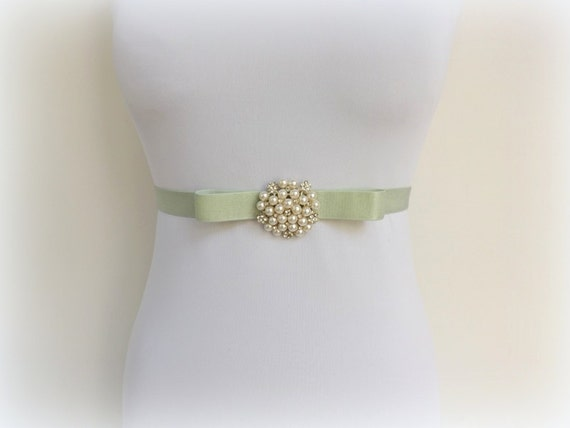 Mint green elastic waist belt. Bow belt. Ivory pearls and rhinestone centerpiece. Bridal/ Bridesmaid dress belt.