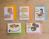 Foods of Australia Series Letterpress Cards // Set of 5 // Anzac Biscuit, Fairy Bread, Lamington, Pavlova & Vegemite on Toast