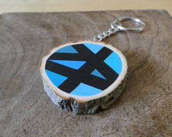 Painted Wooden Slice Keyring - Blue & Green Triangles