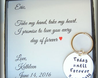 Groom gift from Bride, To Groom from Bride, Grooms key chain, to my groom on our wedding day, Custom Today until Forever key chain