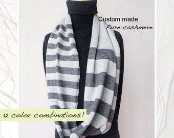 Pure cashmere scarf/Seamless cashmere cowl/Pure cashmere cowl/Men scarf/Women scarf/Kid scarf/Stripe cowl/Cowl/Scarf/Pure cashmere/Stripe