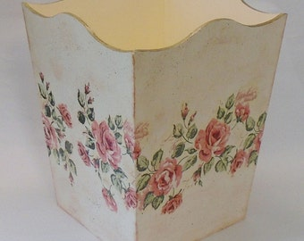 Made to Order-Handmade Decoupage Wood Wastebasket, Vintage, Pink Roses, Shabby Chic